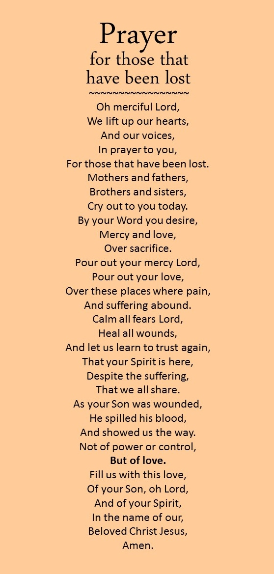 Prayer for those that have been lost