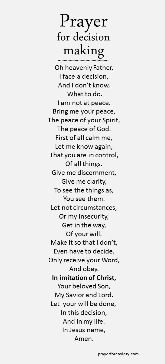 Prayer for decision making