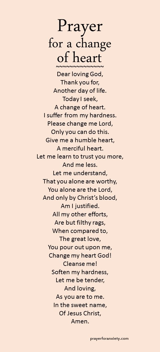 Prayer for a change of heart