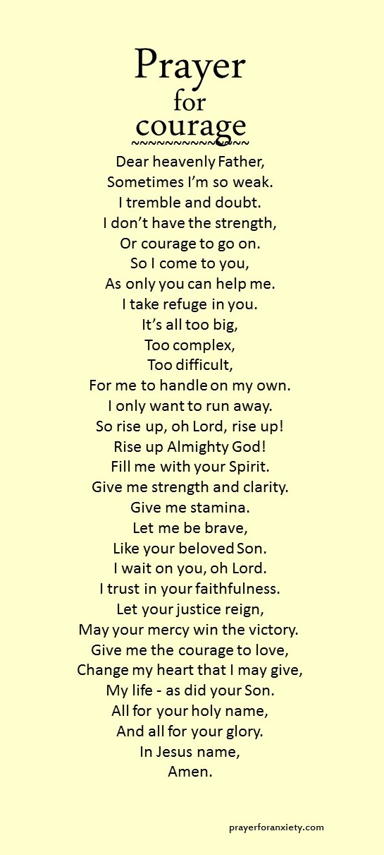 Prayer For Courage Prayer For Anxiety