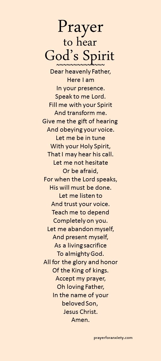 Prayer to hear God's Spirit