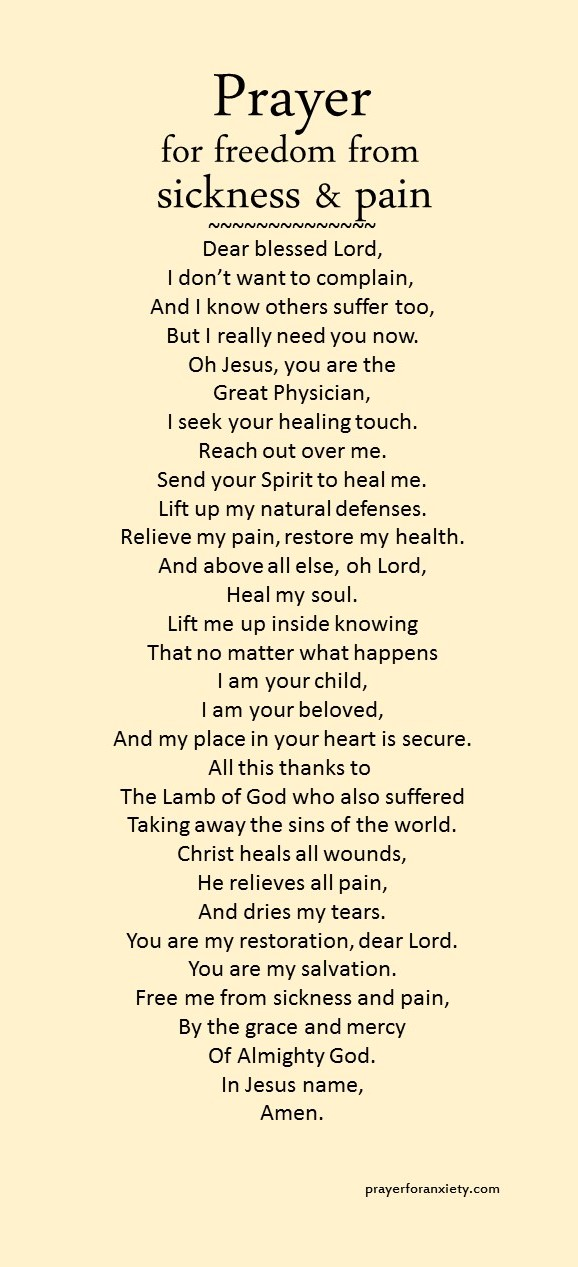 Prayer for freedom from sickness and pain | Prayer For Anxiety