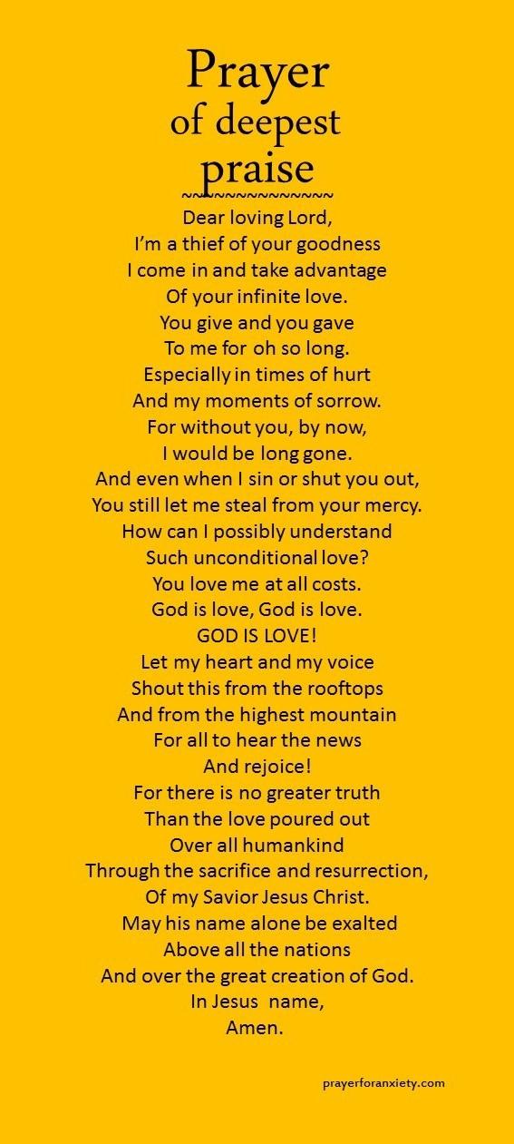 Prayer of deep praise