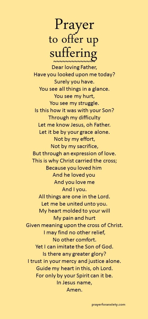 prayer to offer up suffering