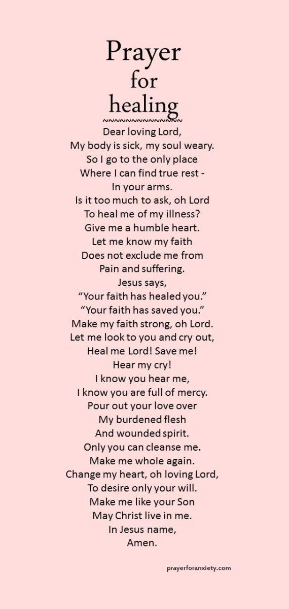 prayer for healing prayer for anxiety