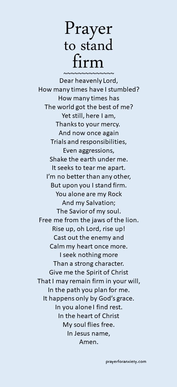 Prayer to stand firm