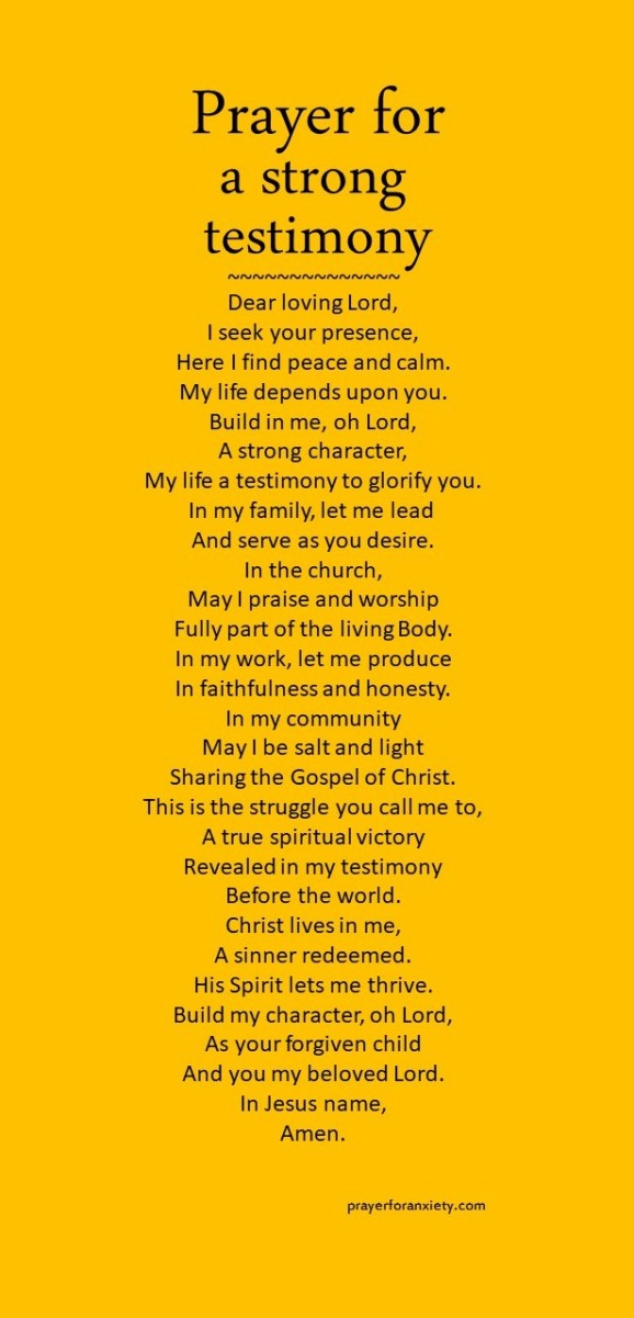 Prayer for a strong testimony