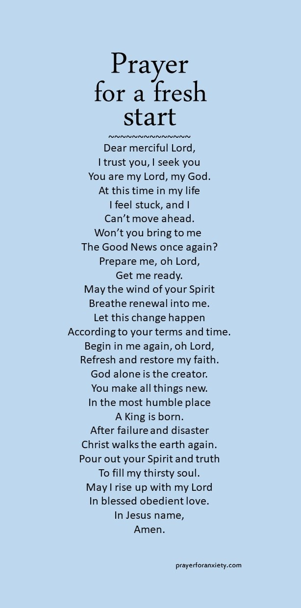 Text and image for Prayer for a fresh start