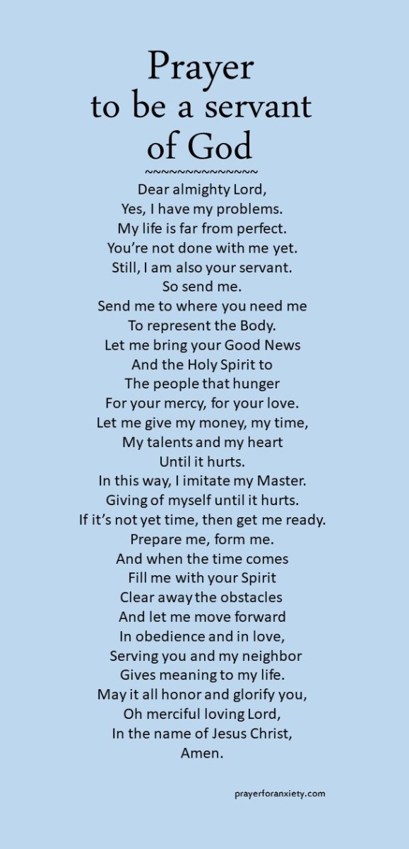 Image of Prayer to be a servant of God that helps you be useful to God's heavenly plan
