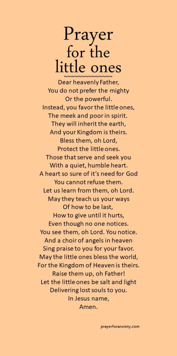 Text of a prayer for the little ones those that are humble and meek