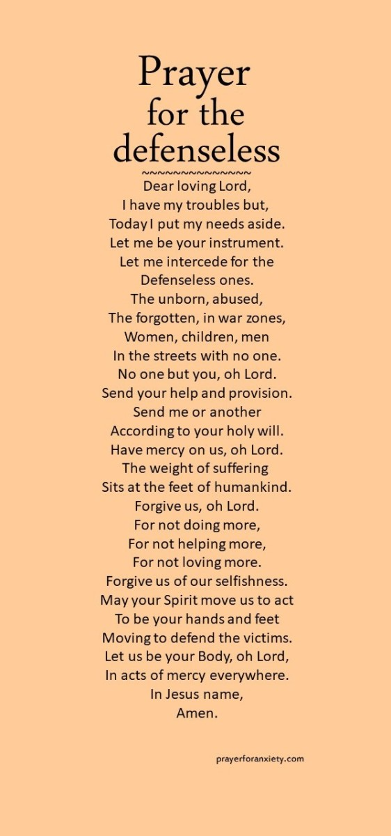 Text image of Prayer for the defenseless which calls us to prayer for victims of suffering
