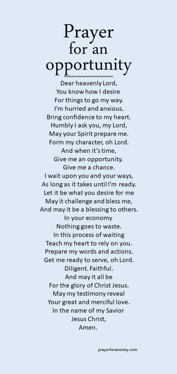 Image of prayer for an opportunity which demonstrates the importance of waiting on God for the chance to do something