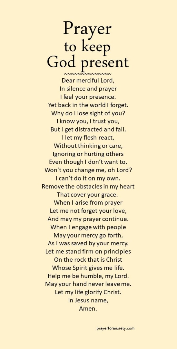 Image of prayer to keep God present which reminds us to remember God's grace at all times