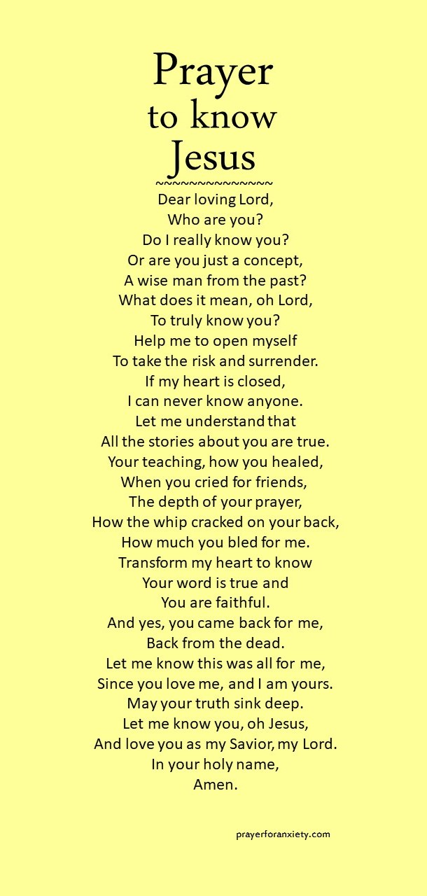 Image of prayer to get to know Jesus better which means understanding who he is and why he came into the world.