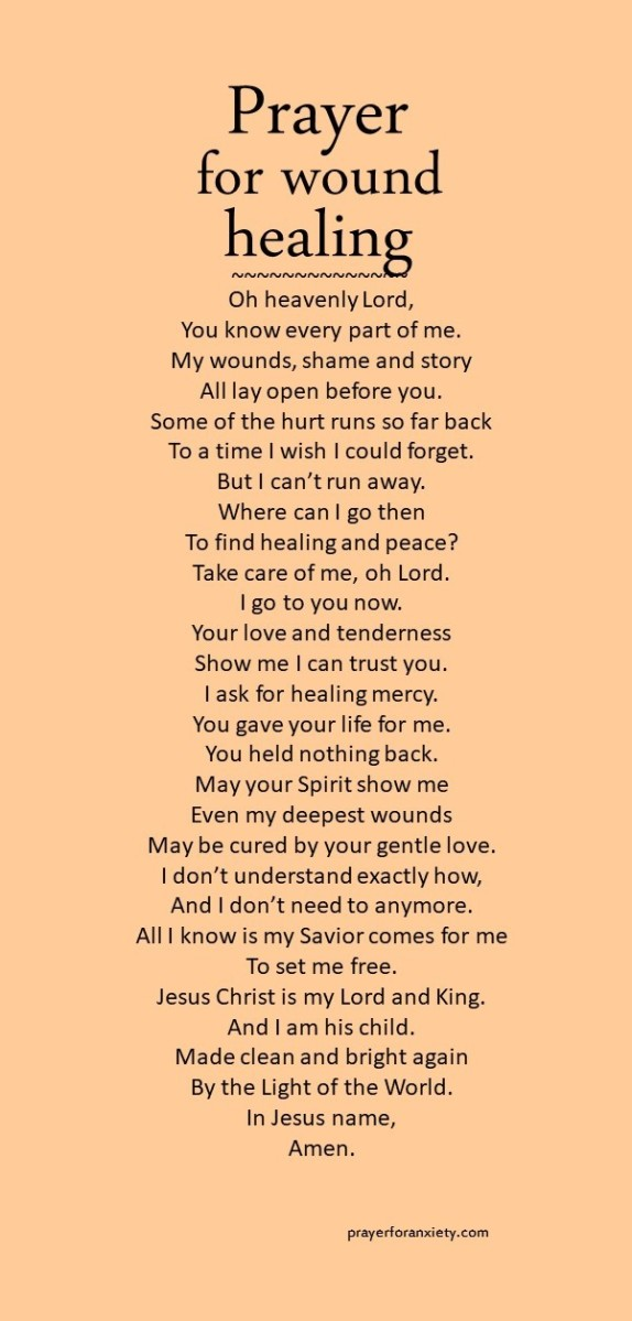 Image of prayer for wound healing to help receive the healing grace that comes from Christ Jesus
