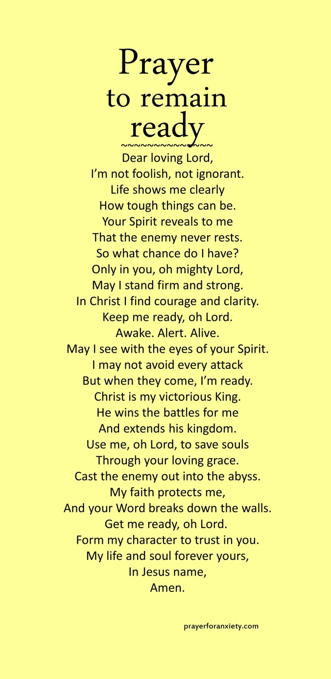 Image of text for Prayer to remain ready which helps guide you to be more organized and aware