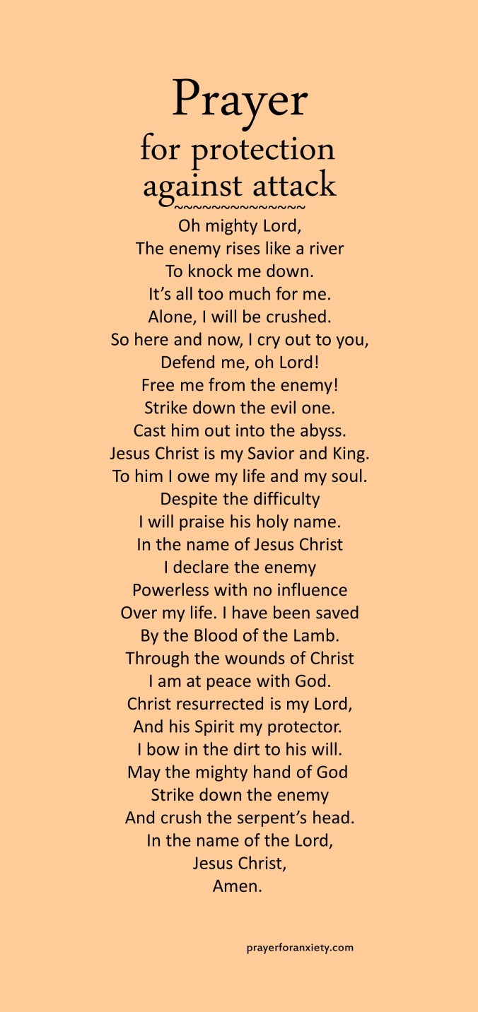 Image of text of prayer for protection against attack which inspires you to pray and seek God when facing spiritual aggression.