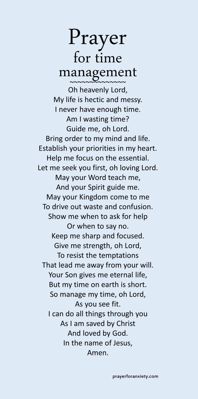 Image of text for prayer for time management which guides you to seek God to place his order in your life