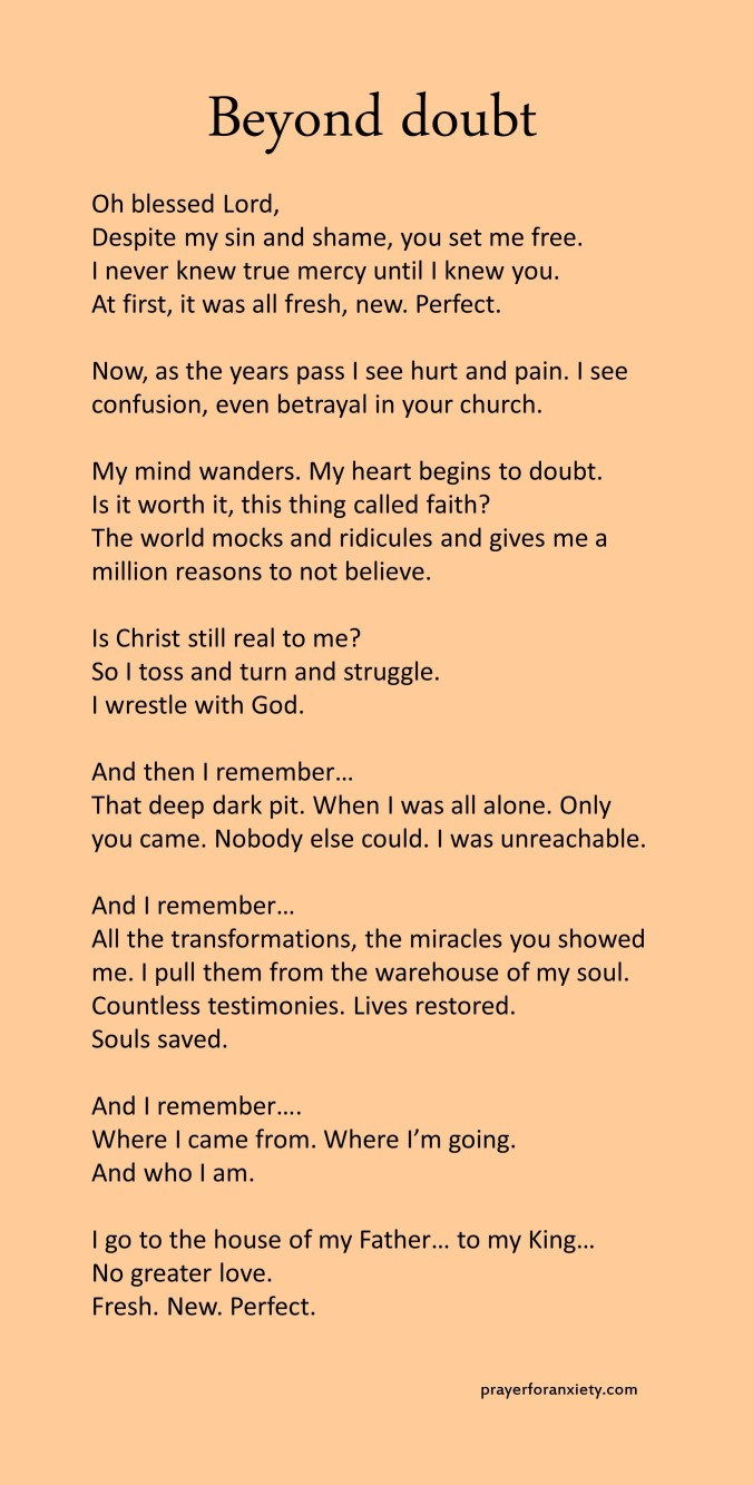 Image of text of reflection about when you doubt your faith.