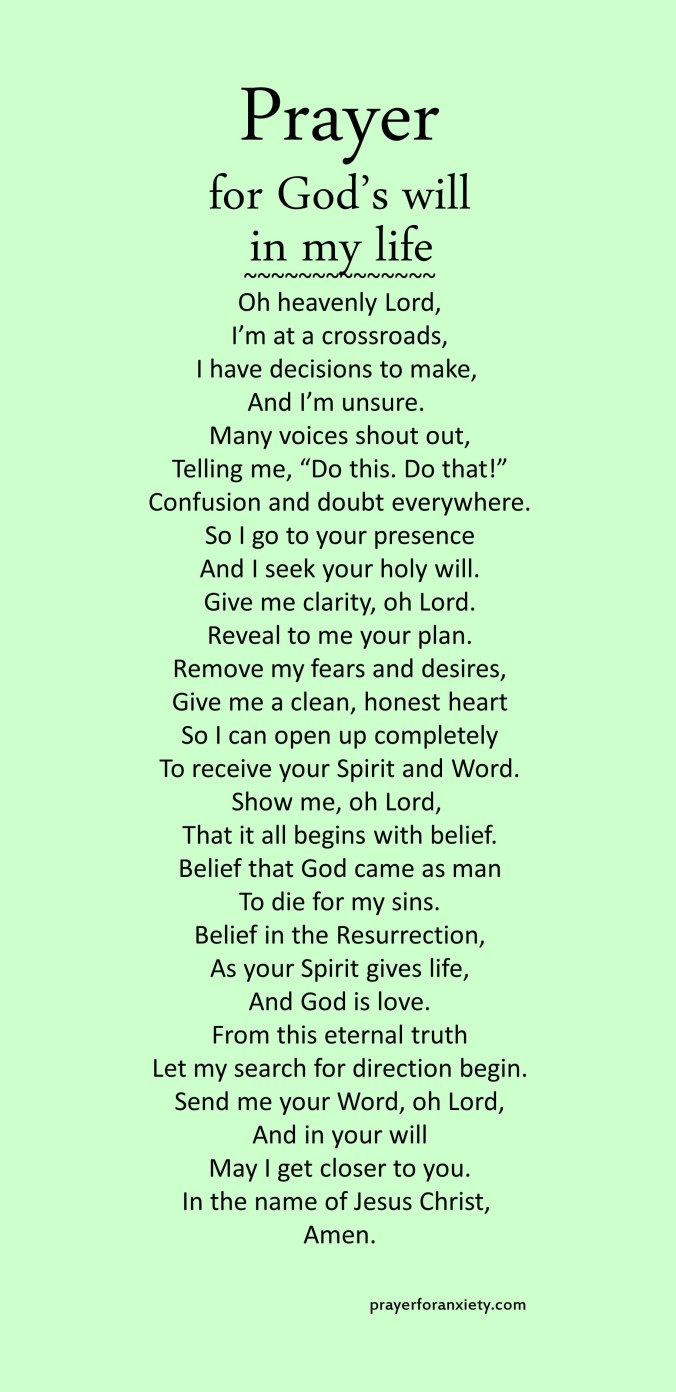 Image of text of Prayer for God's will in my life to help guide you in seeking God's word and plan for your life