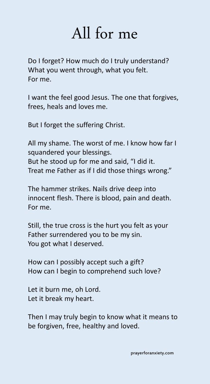 Image of text of All for me which helps you to contemplate the loving sacrifice of Jesus Christ