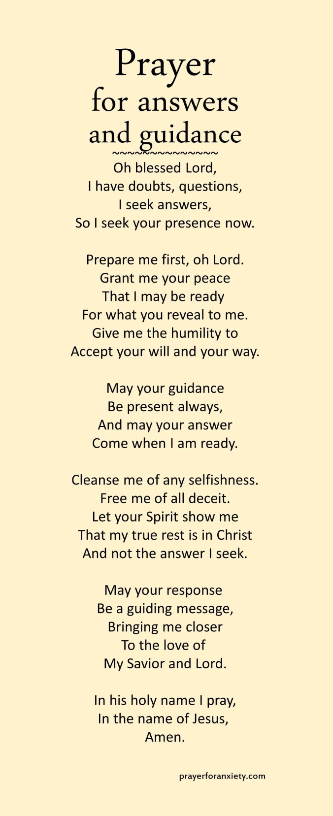 A prayer to help discover God's answers and get his guidance.