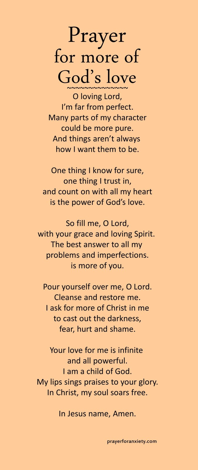 Prayer for more of God's love