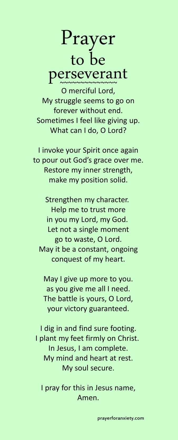 Prayer to be perseverant