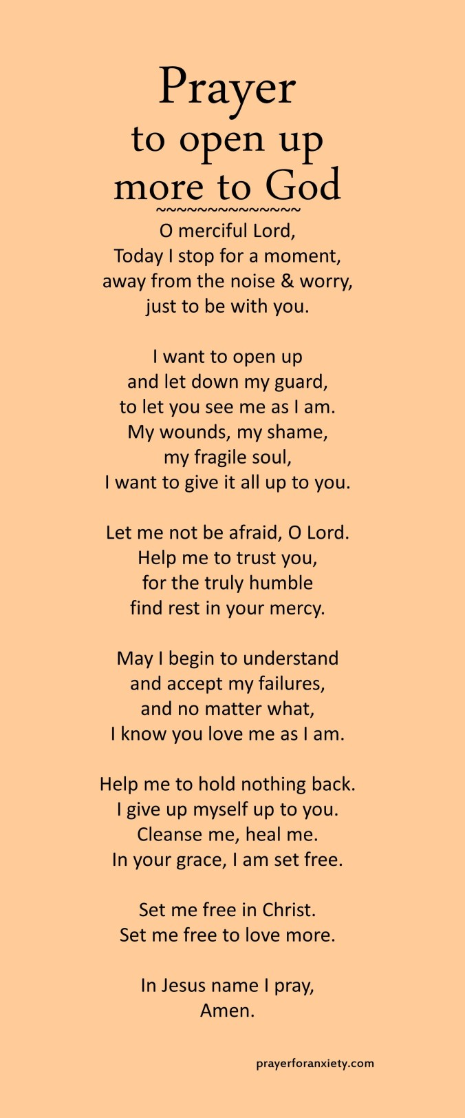 Prayer to open up more to God