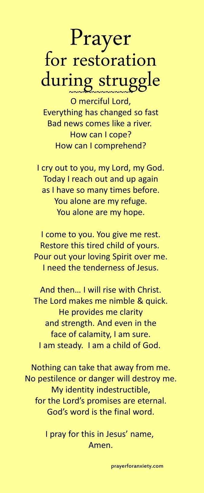 Prayer for restoration during struggle