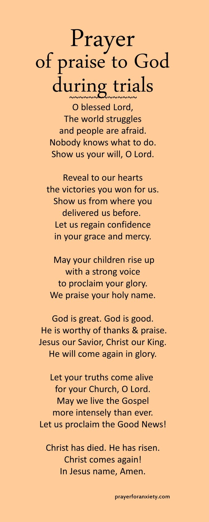 Prayer of praise to God during trials