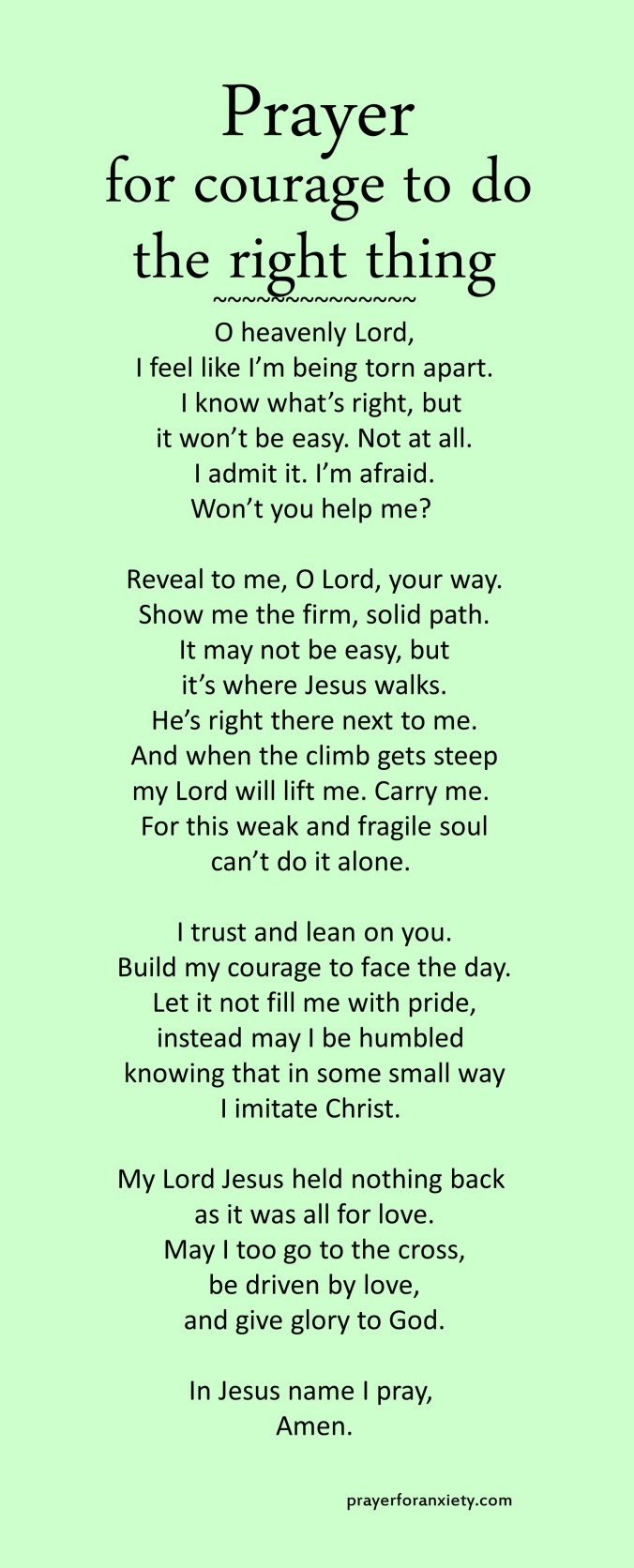 Prayer for courage to do the right thing