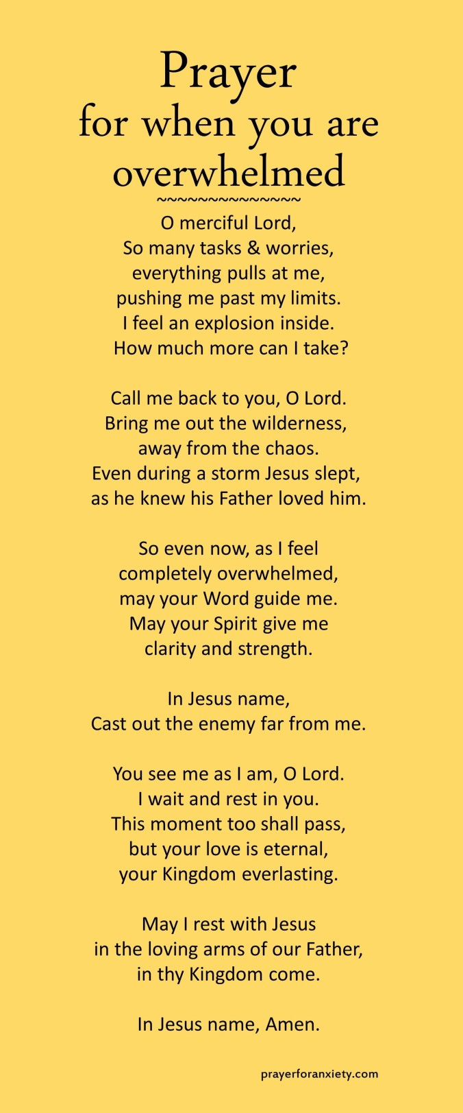 Prayer for when you are overwhelmed