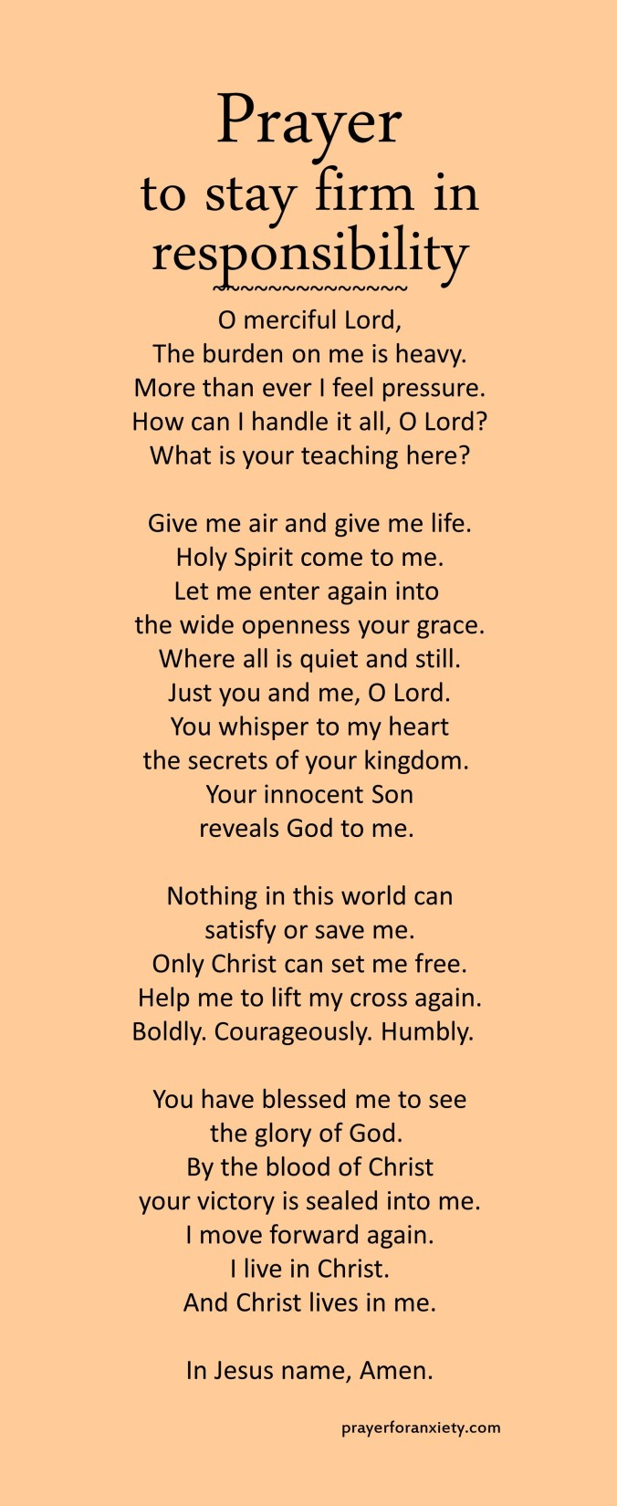 Prayer to stay firm in responsibility