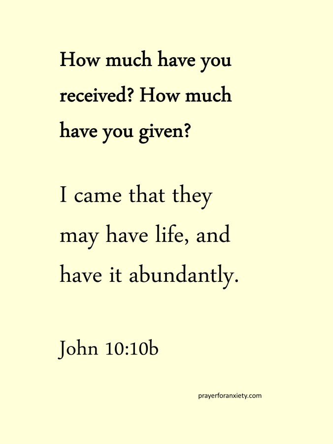 Thought and Bible verse John 10,10b