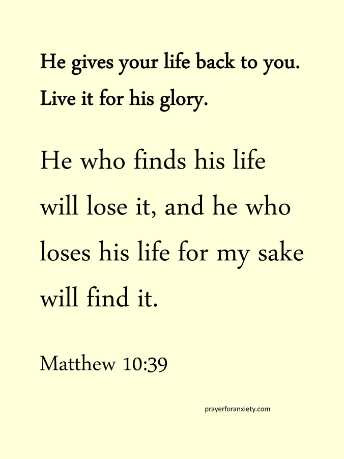 thought and Bible verse Matthew 10:39