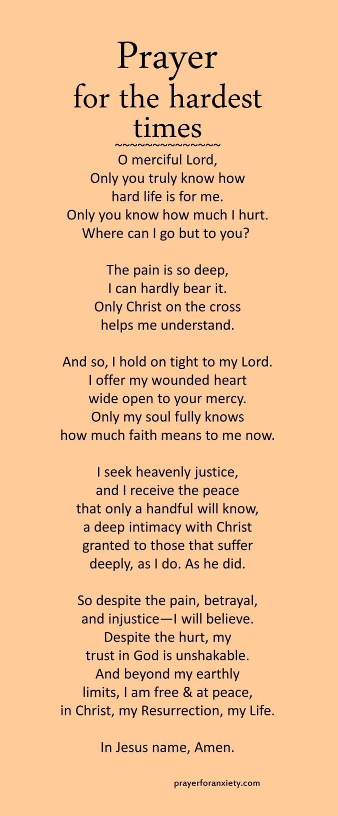 Prayer for the hardest times