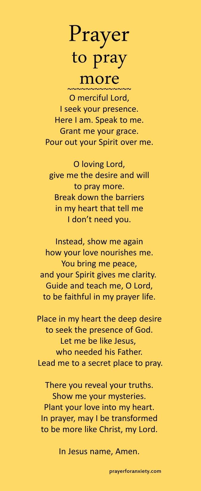 Prayer to pray more