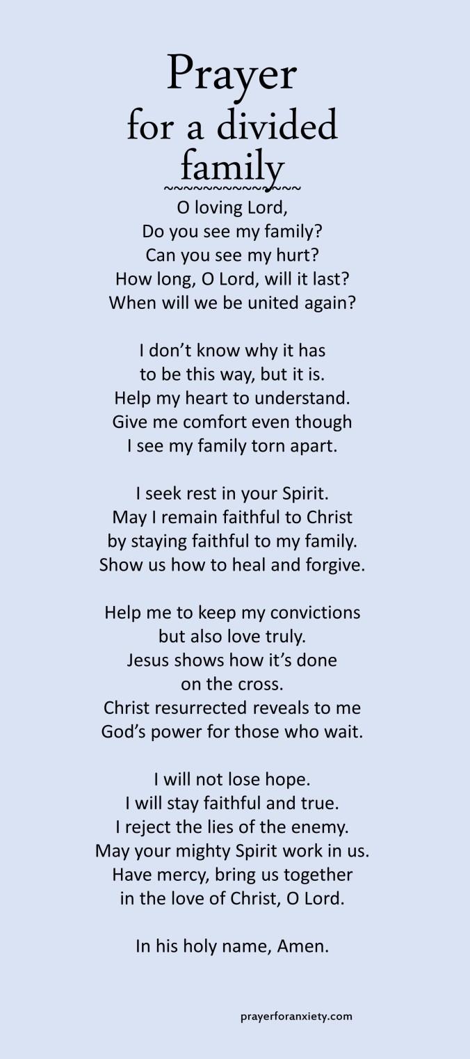 Prayer for a divided family