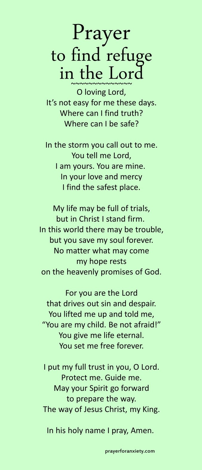 Prayer to find refuge in the Lord