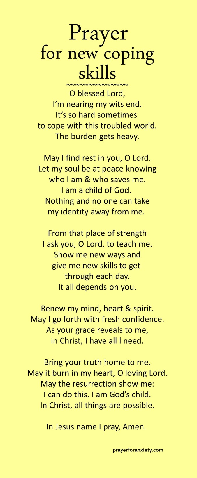 Prayer for new coping skills