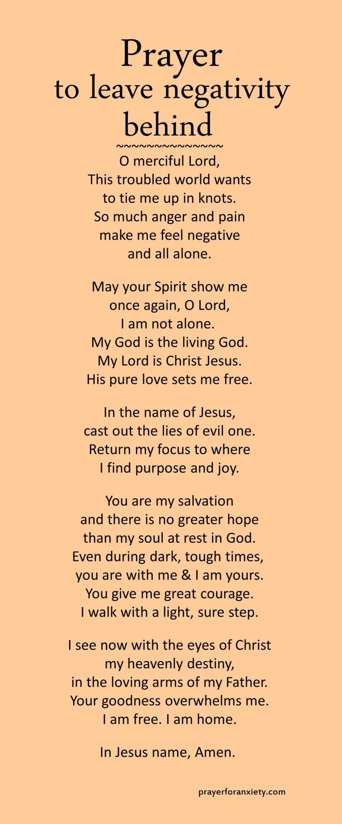 Prayer to leave negativity behind