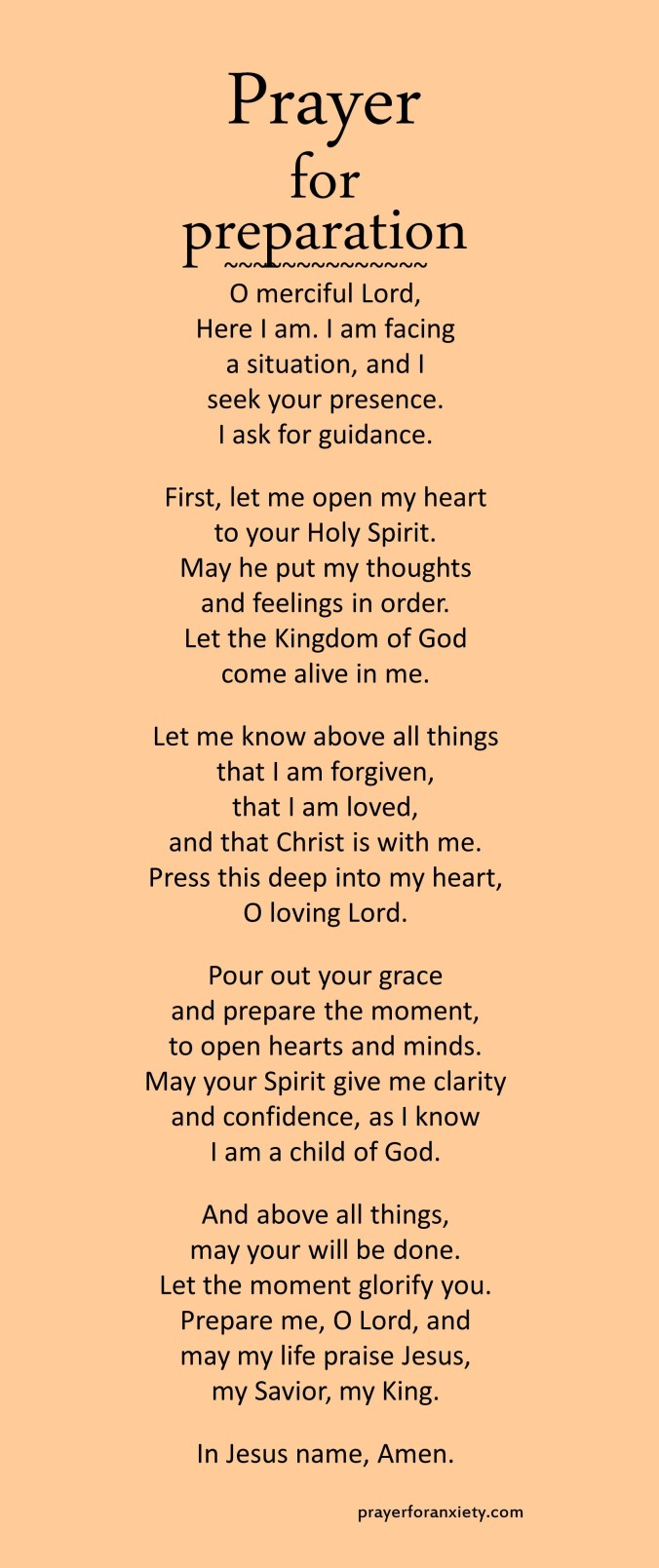 Prayer for preparation