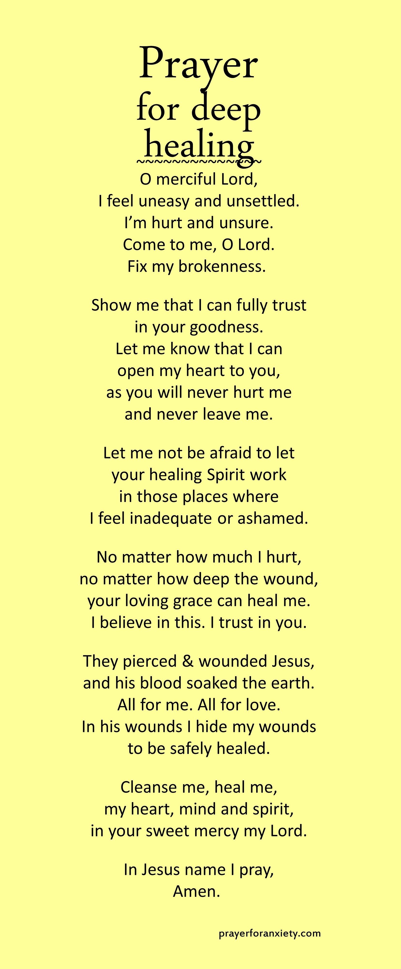 Prayer for deep healing