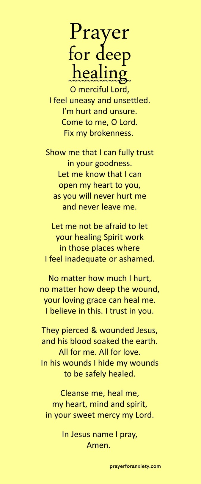Prayer for deep healing