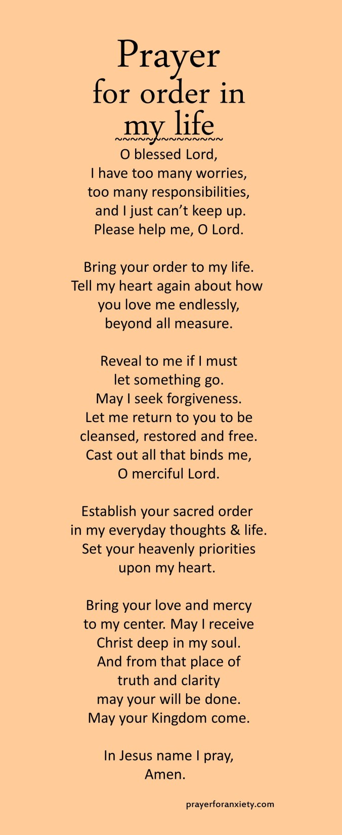 Prayer for order in my life