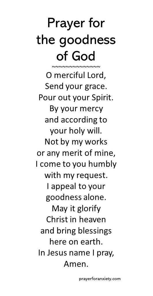 Prayer for the goodness of God